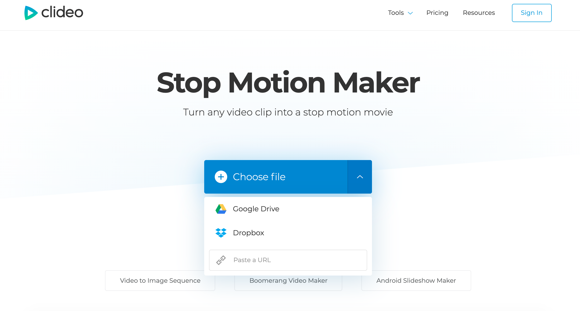 Upload Android video for stop motion
