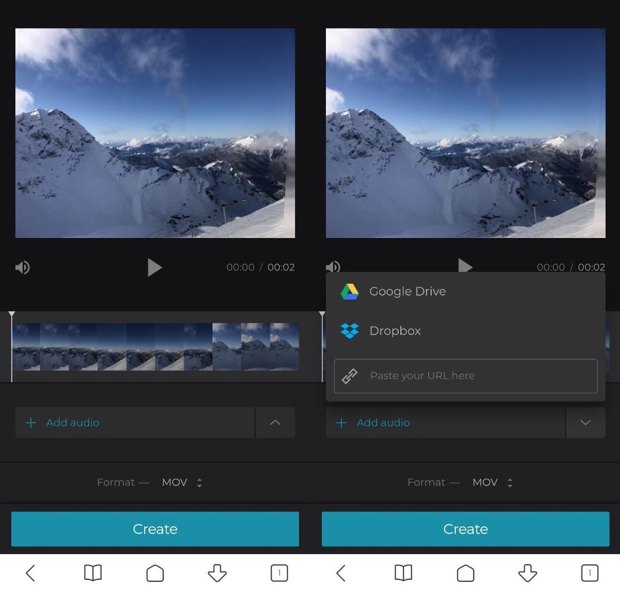 Upload an audio to add to video on Android