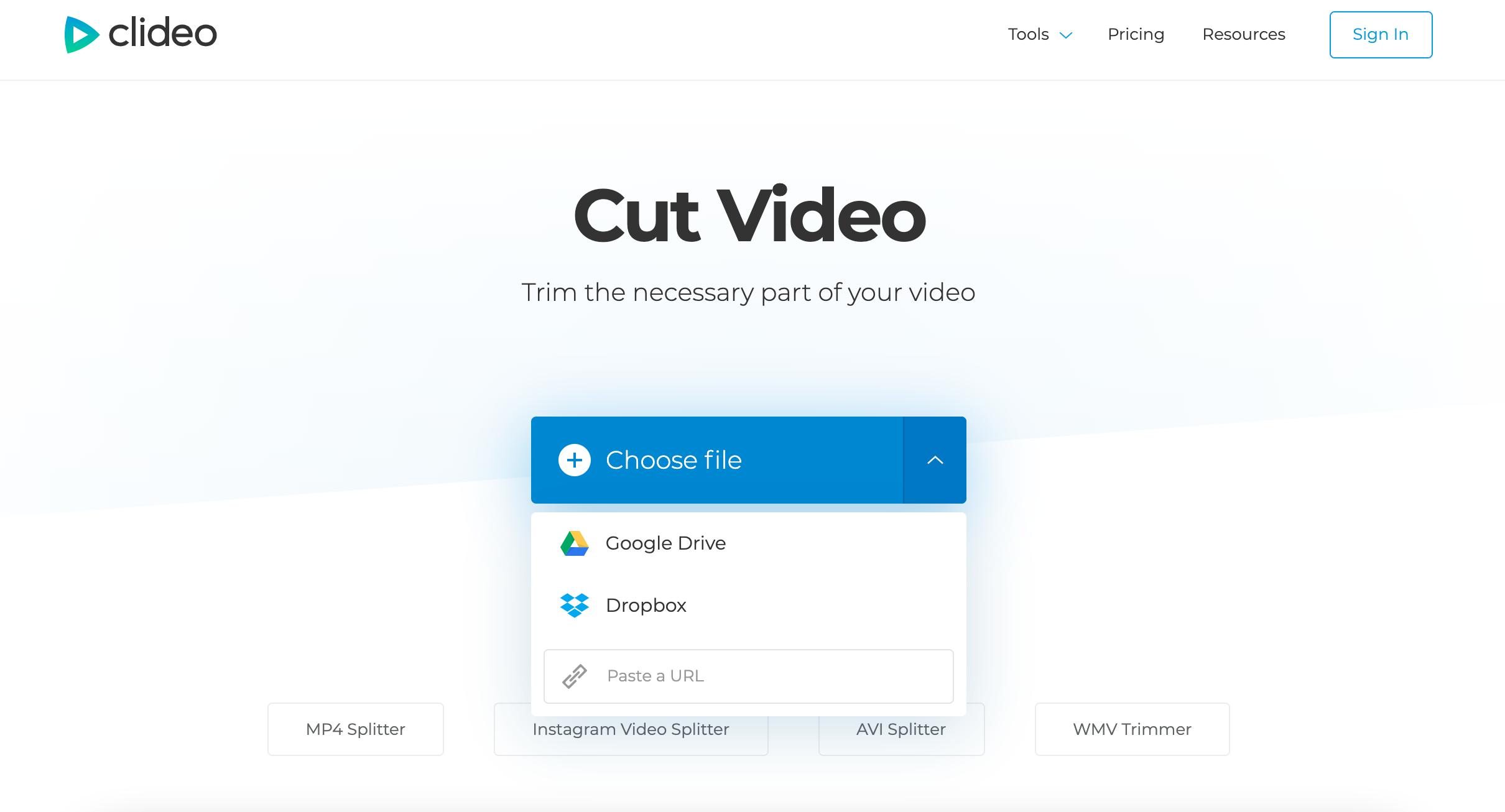 Upload an AVI file to cut