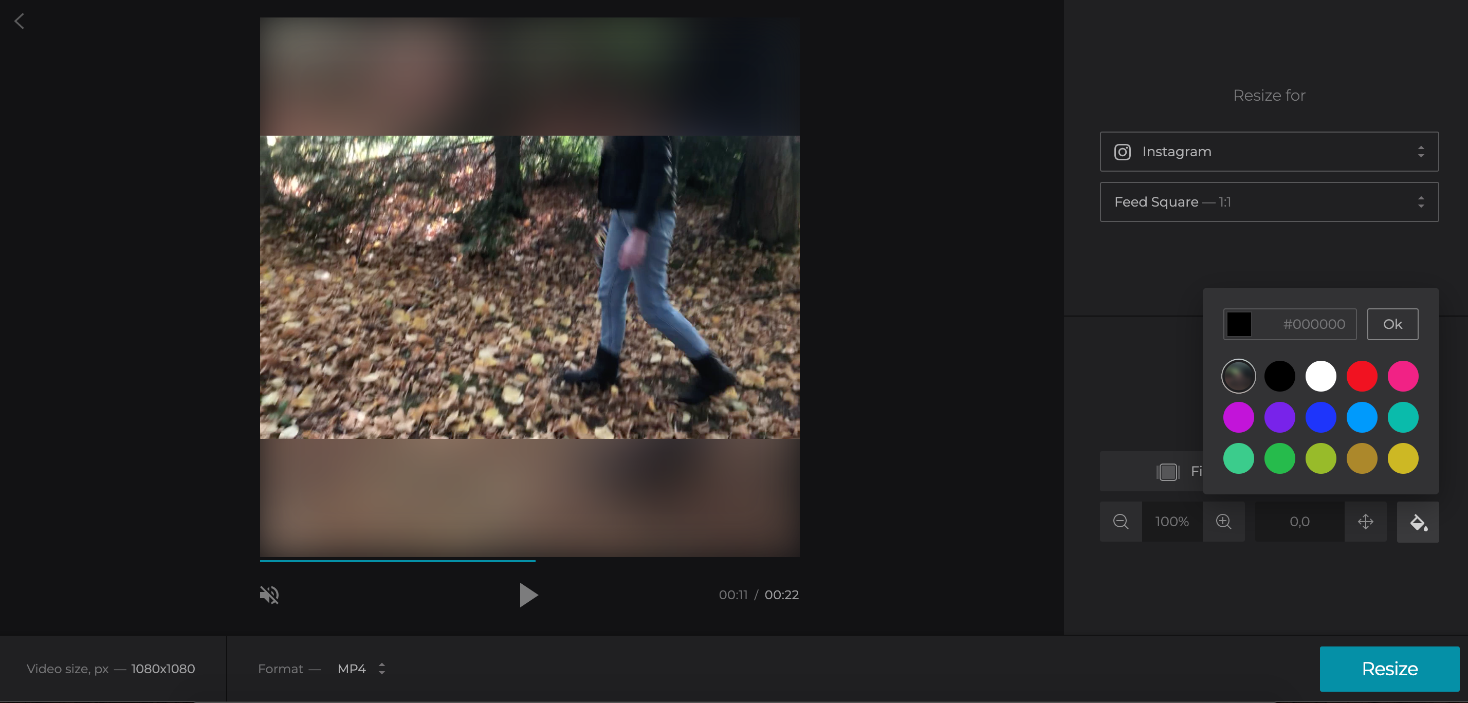 Add background for Vimeo video for Instagram