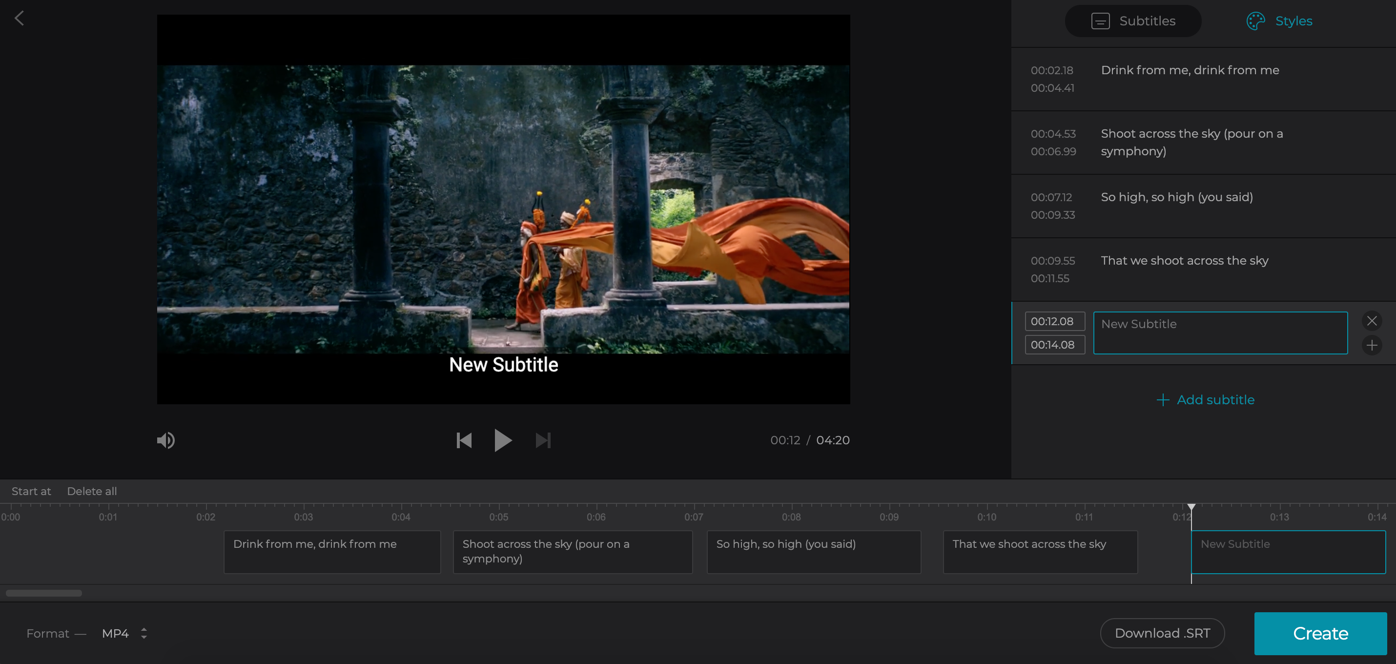 Add captions to a video from Vimeo