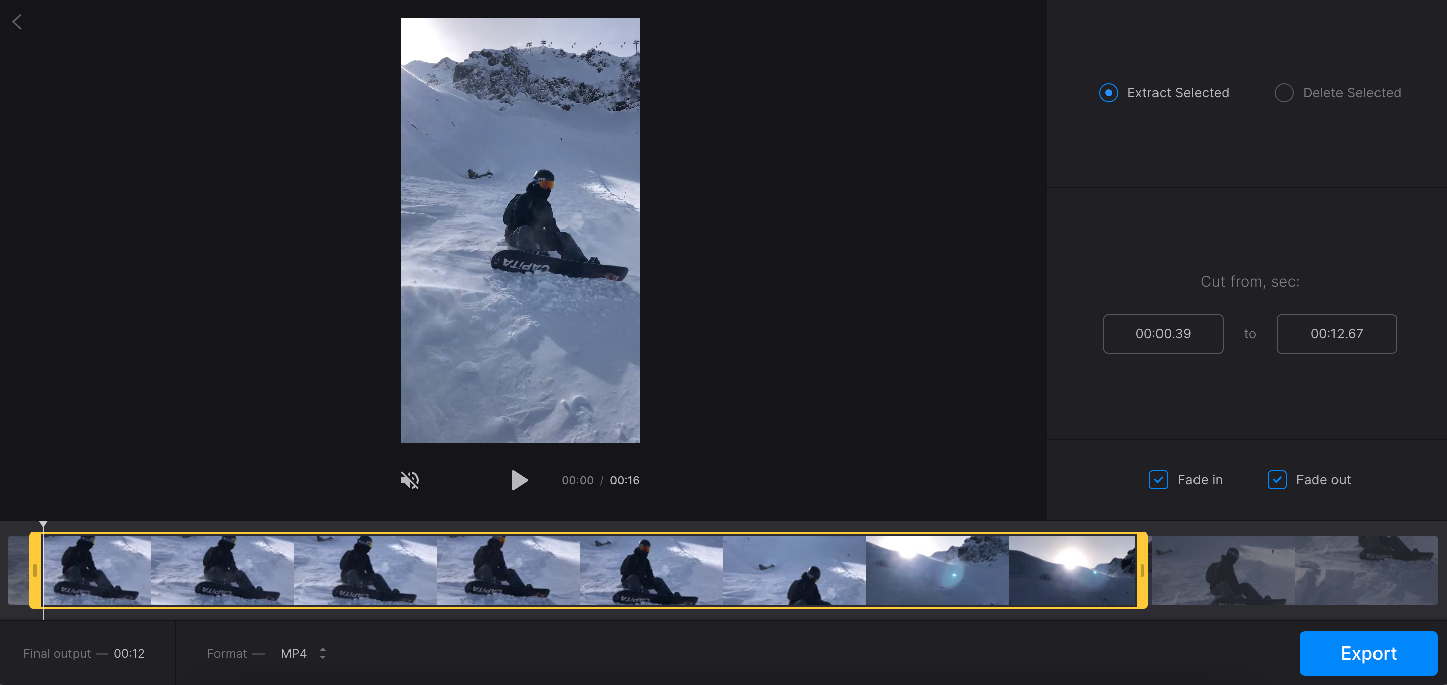 Adjust fade effect for video