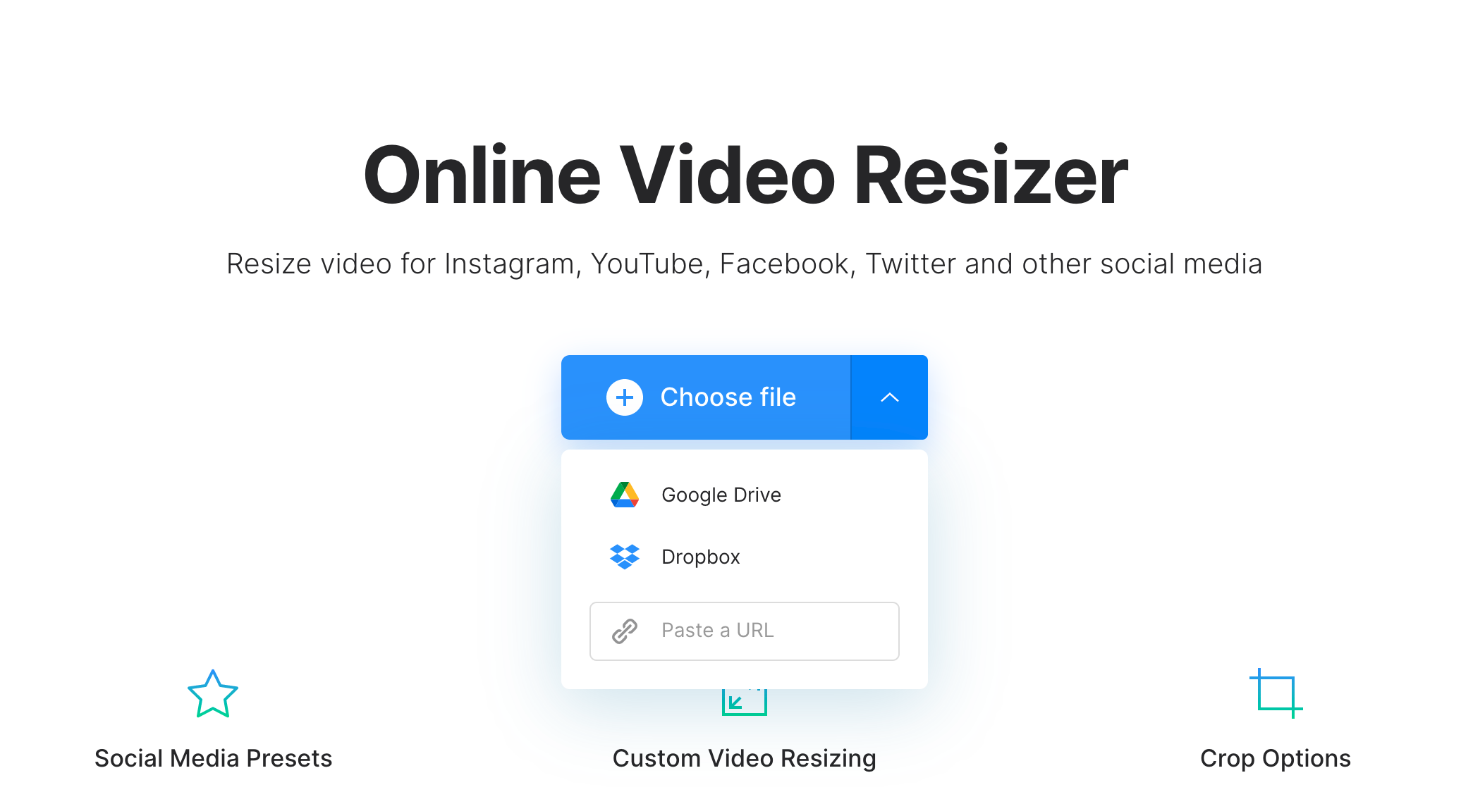Upload file to change aspect ratio or resolution