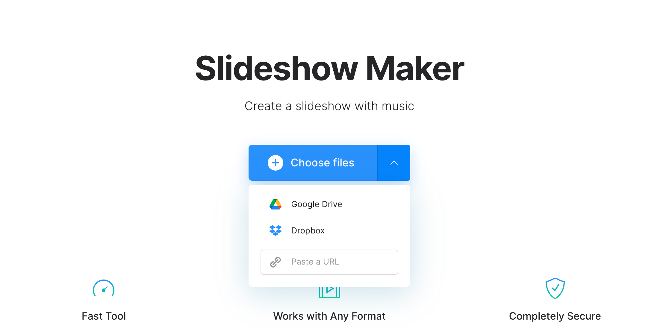 Upload files for slideshow with music