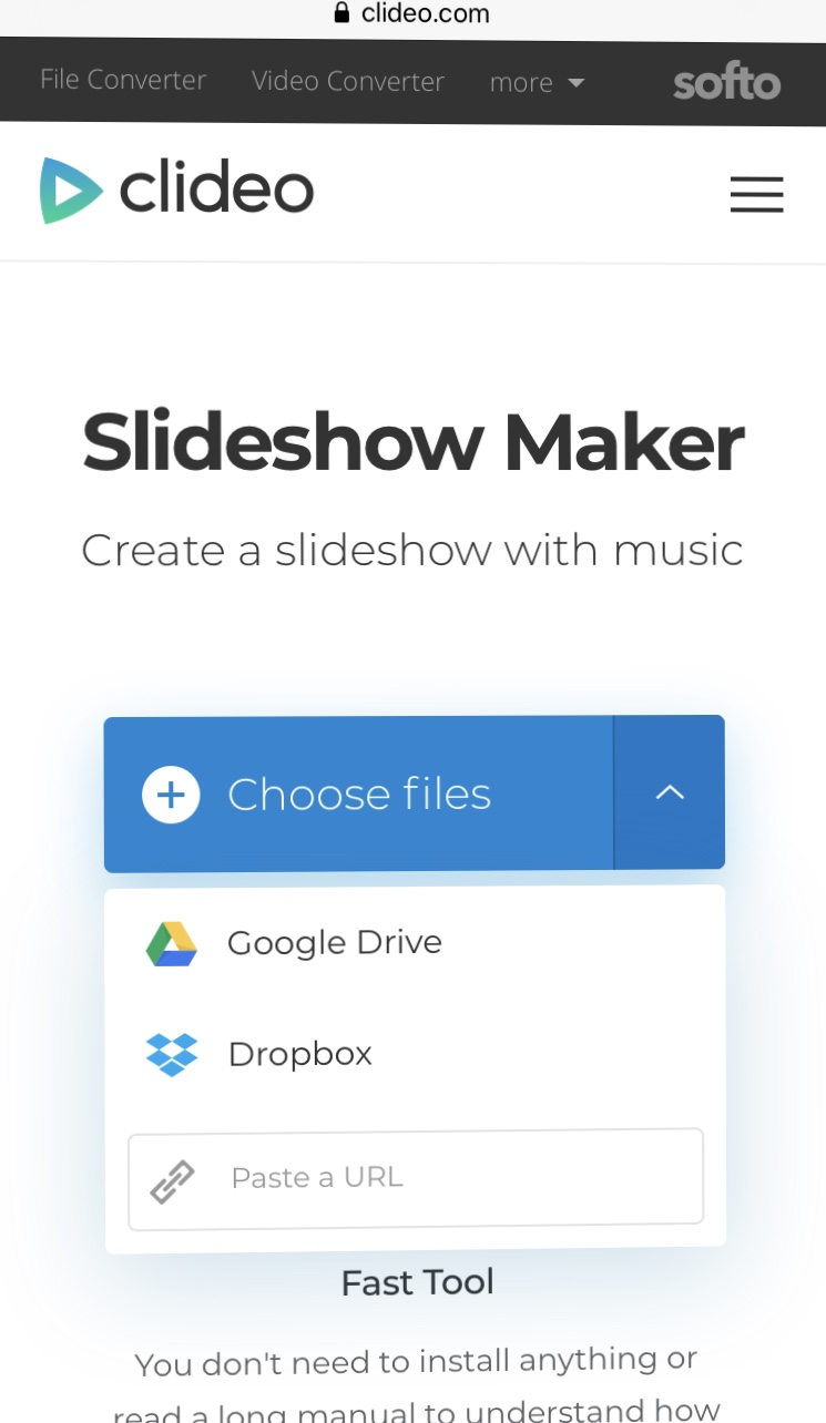 Upload files to the Android Slideshow Maker