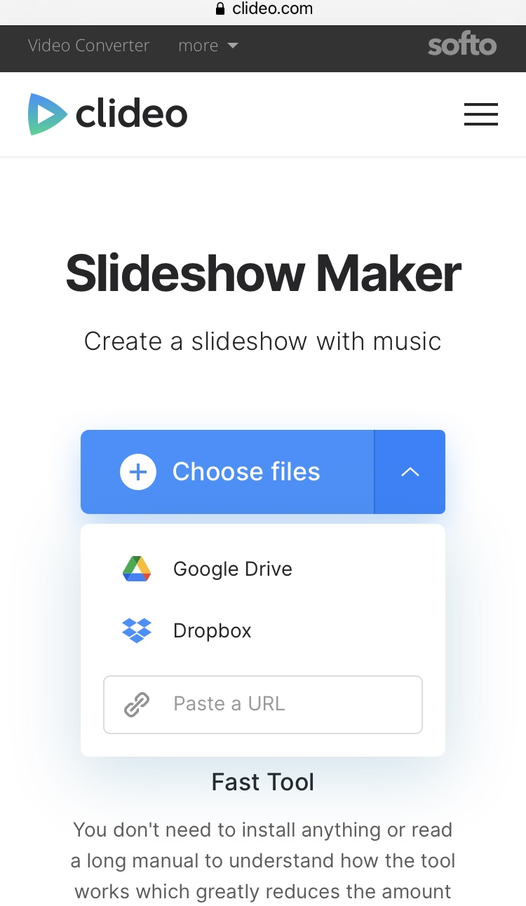 Upload files to create slideshow on iPhone