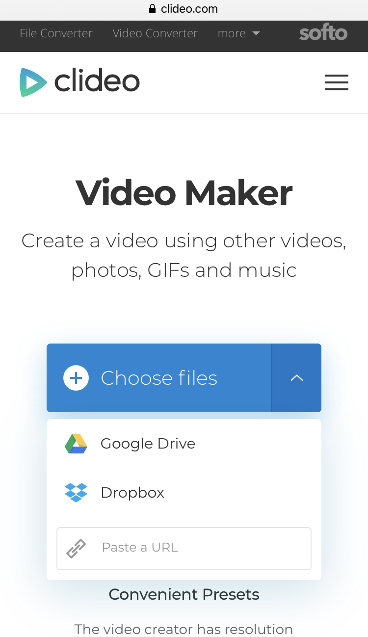 Upload the necessary files to make a video on iPhone