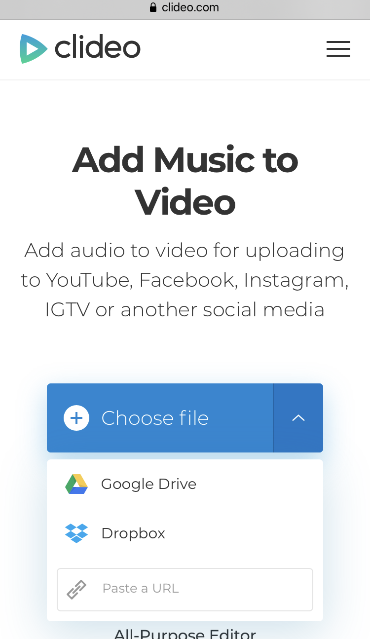 Upload a video you want to add music to