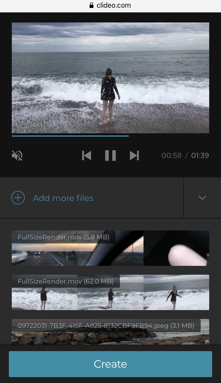 Upload more files to Clideo's iPhone Slideshow Maker