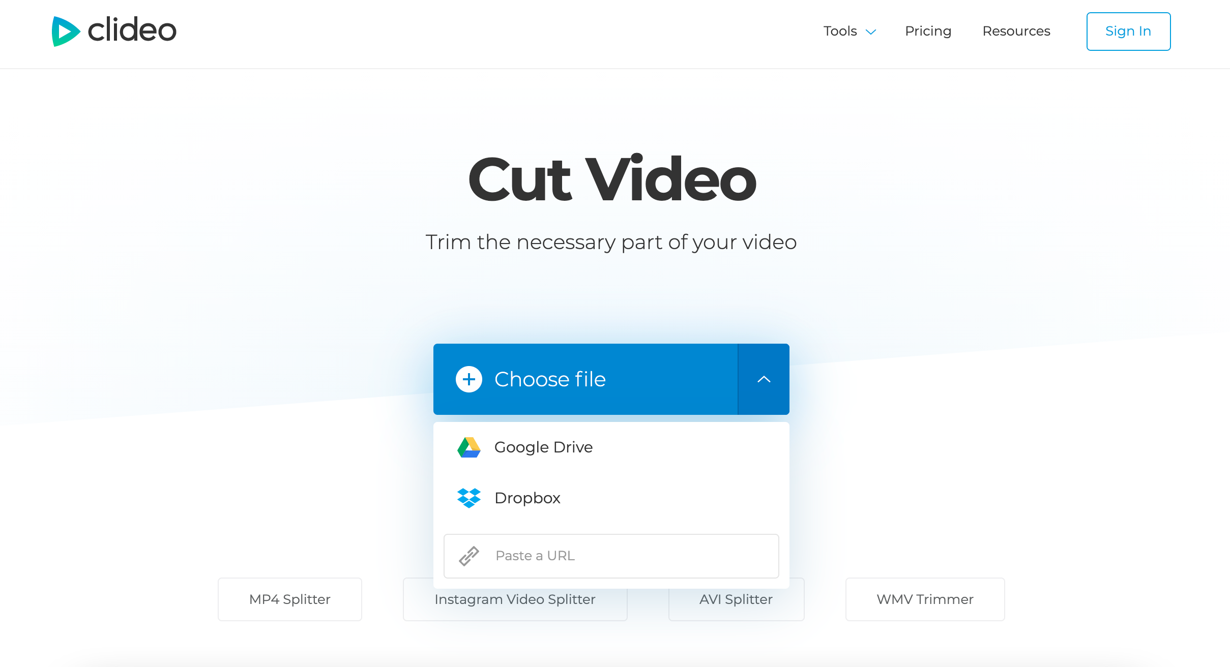 Upload MOV file to trim