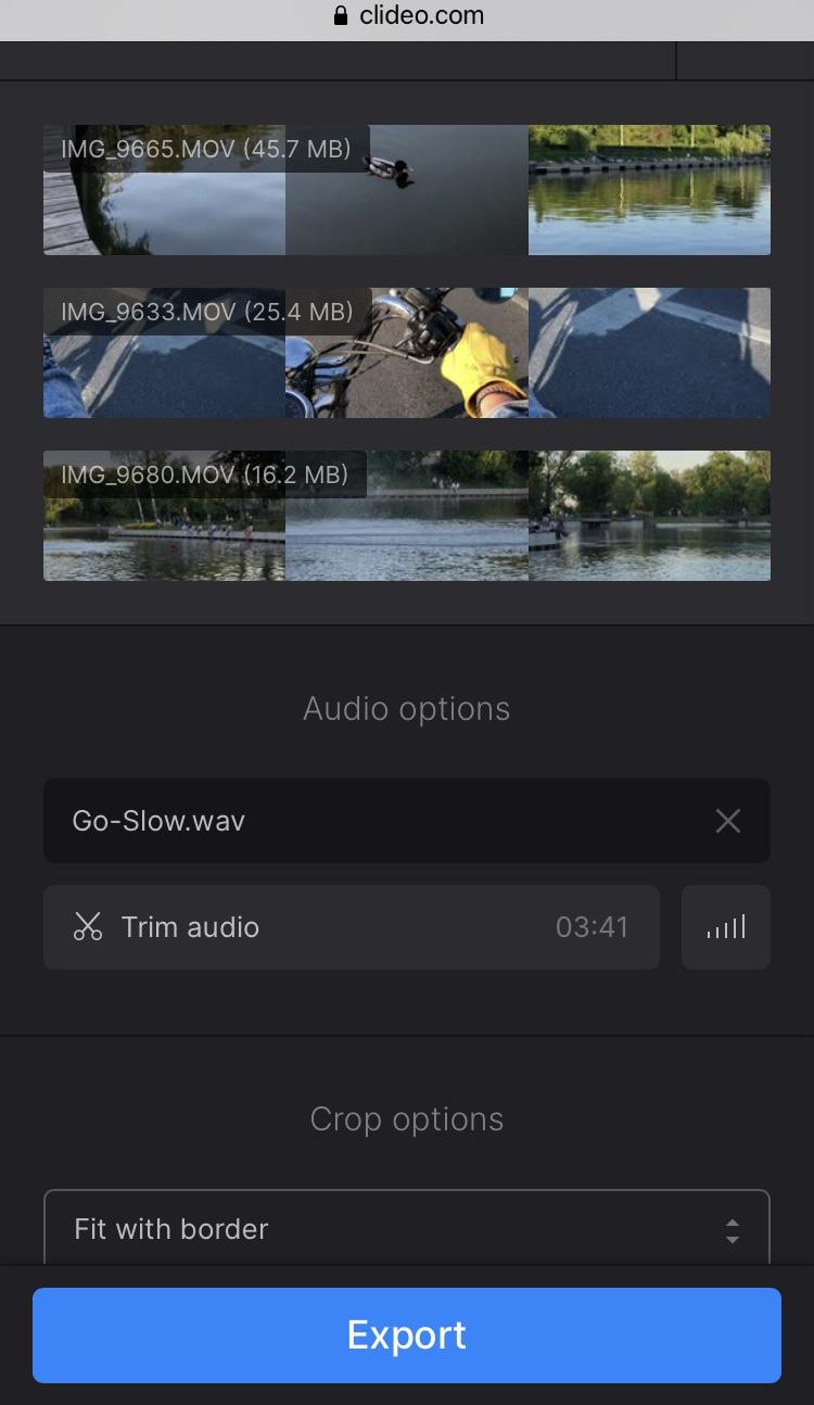 Add audio to slideshow created on iPhone