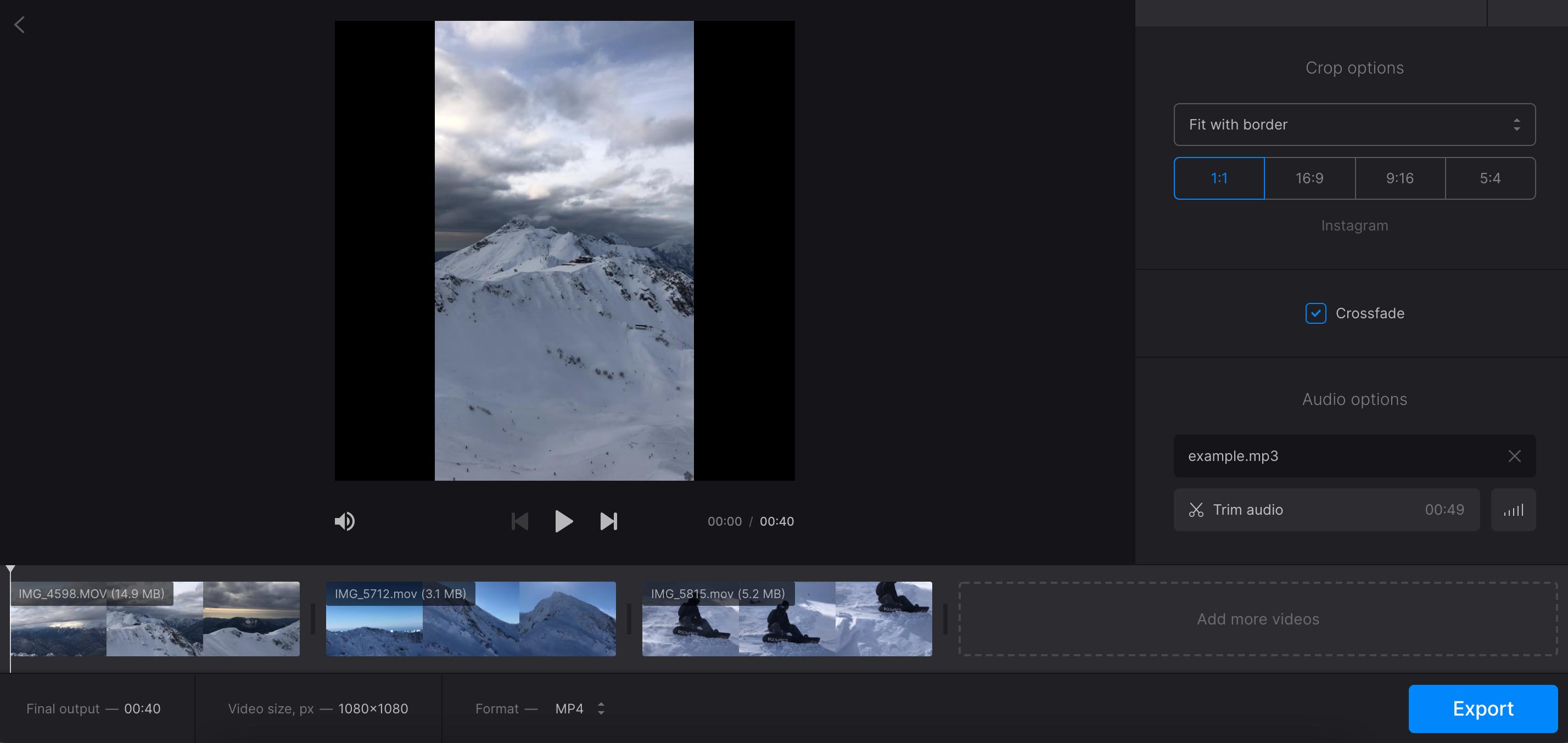 Add audio to video mashup