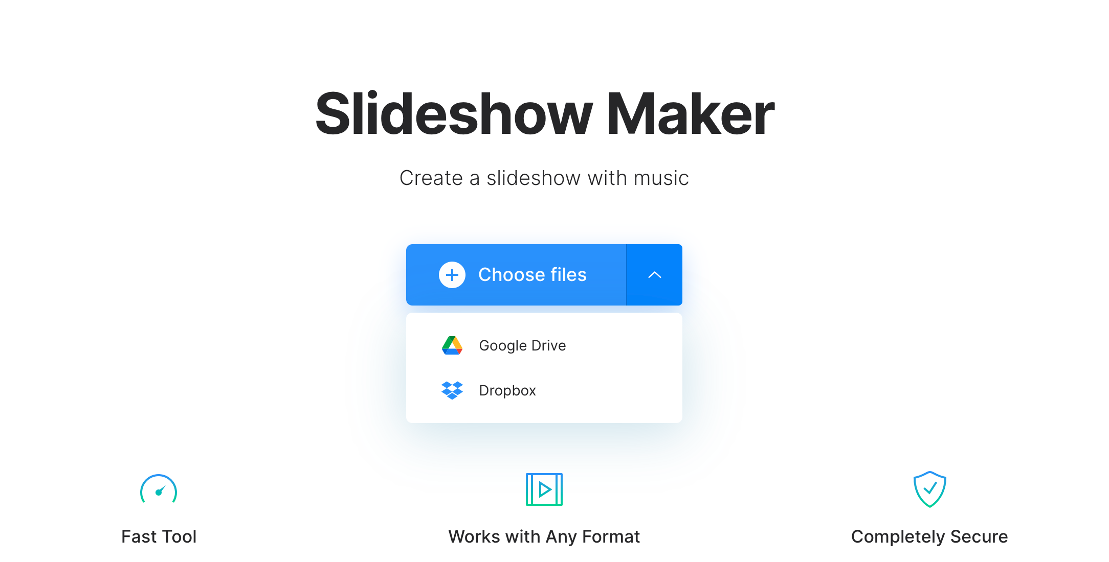 Upload pictures to make video with music