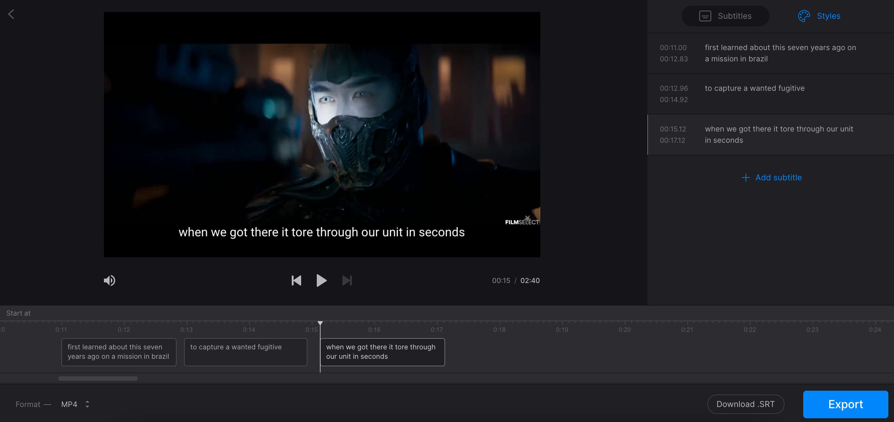 Add subtitles as dubbing alternative