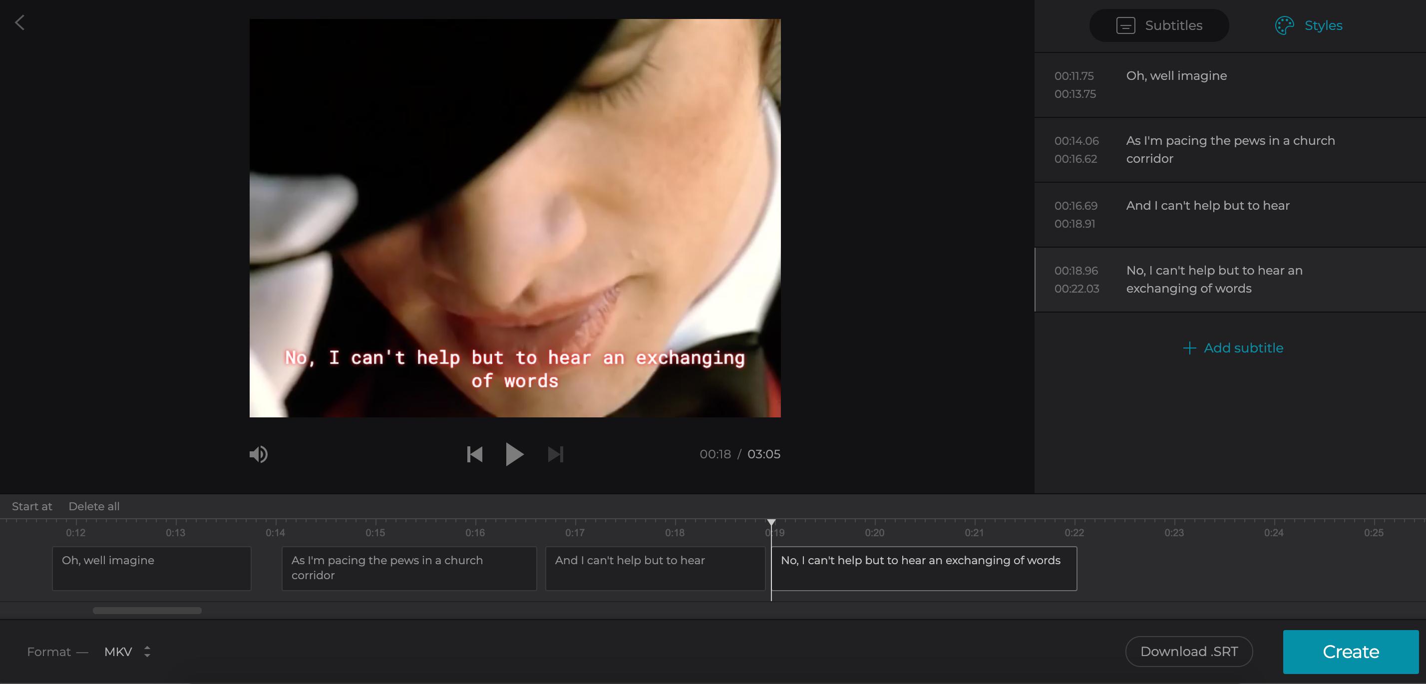 Add subtitles in the Caption Creator
