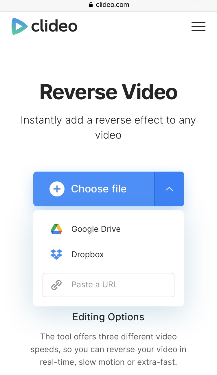 Upload TikTok video to reverse using Clideo