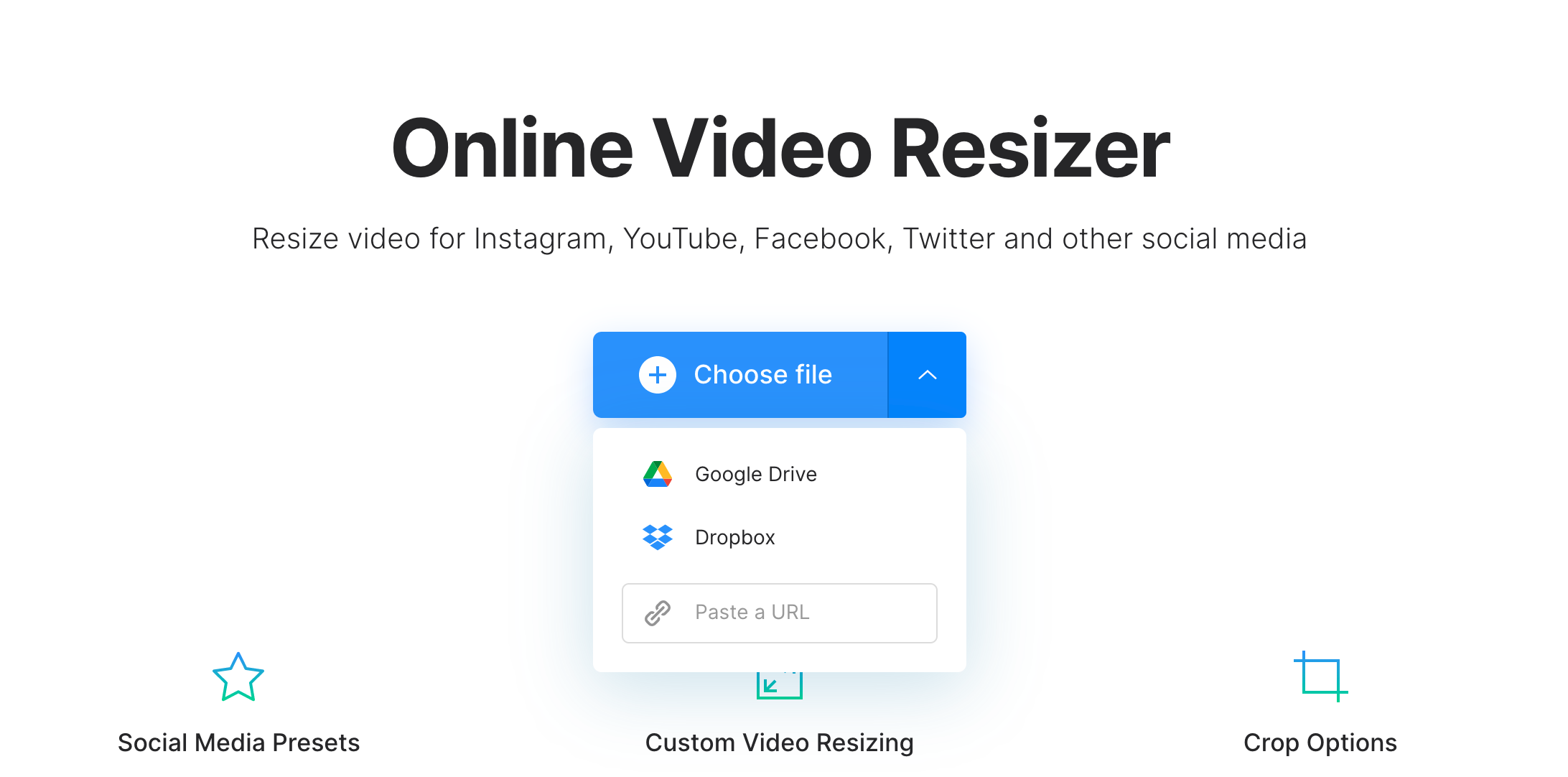 Upload vertical video to resize to horizontal