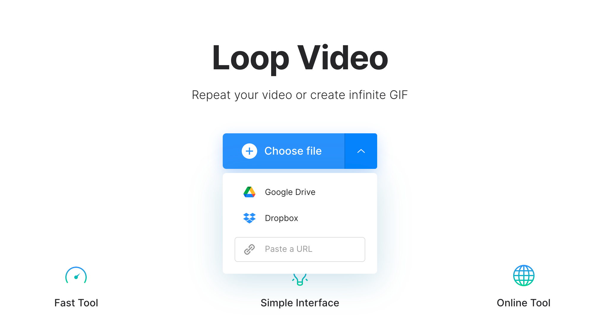 Upload video clip to make endless GIF