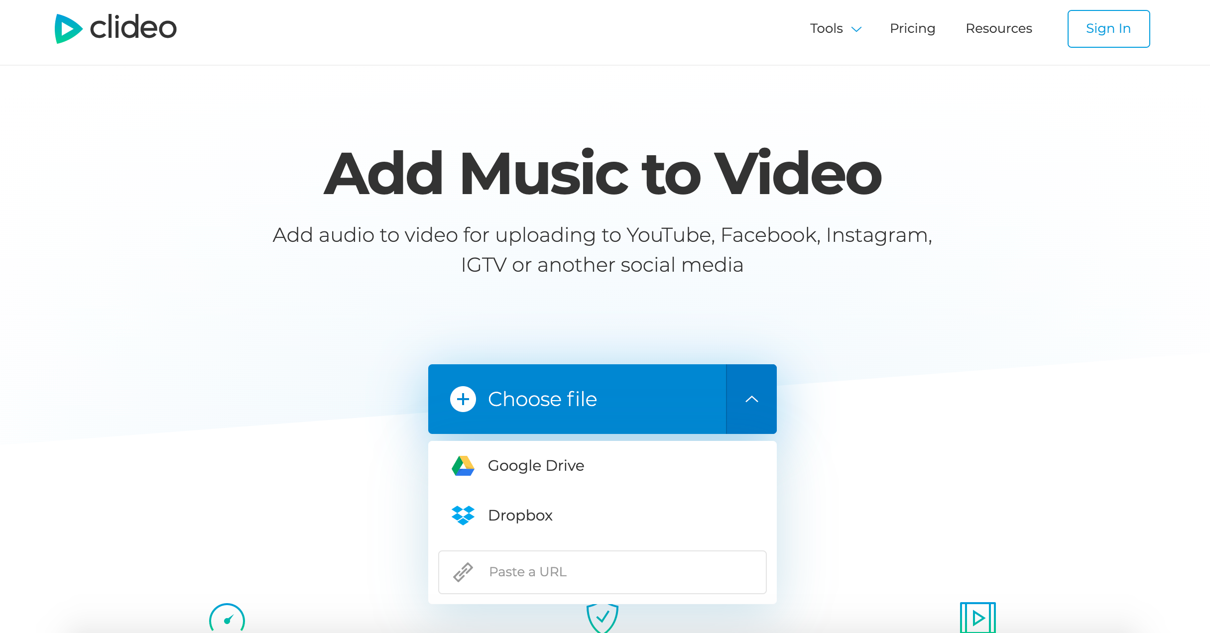 Upload a video from Instagram to add music