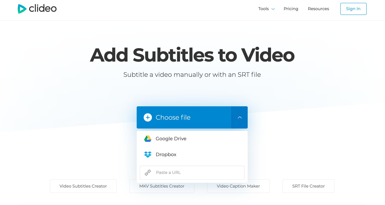Upload video to burn in subtitles