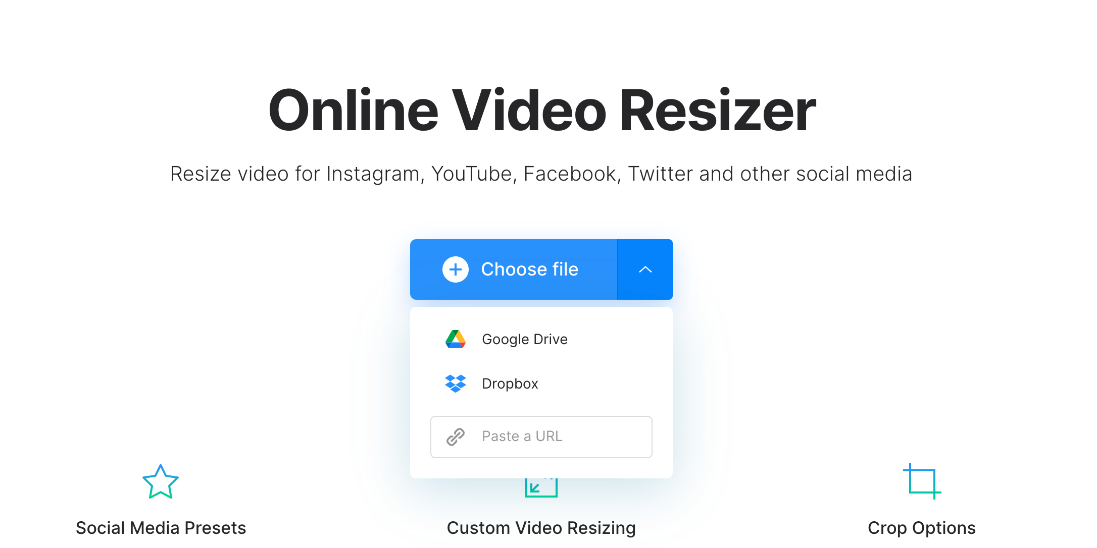 Upload video or image to change aspect ratio