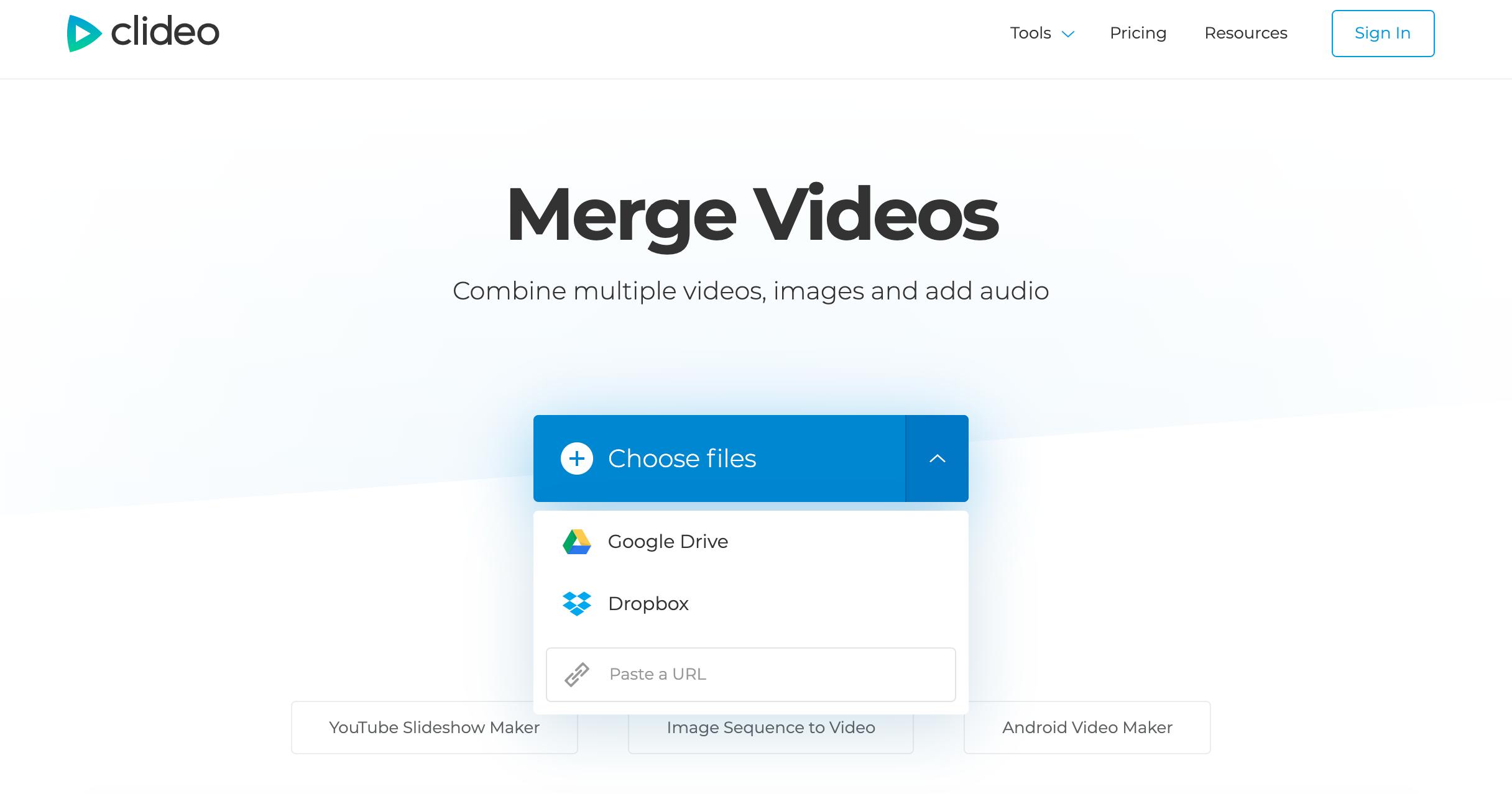 Upload videos to merge on Windows
