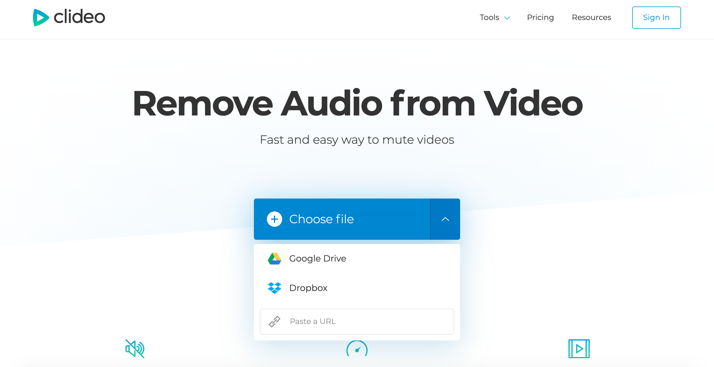 Upload a video and remove sound from it automatically