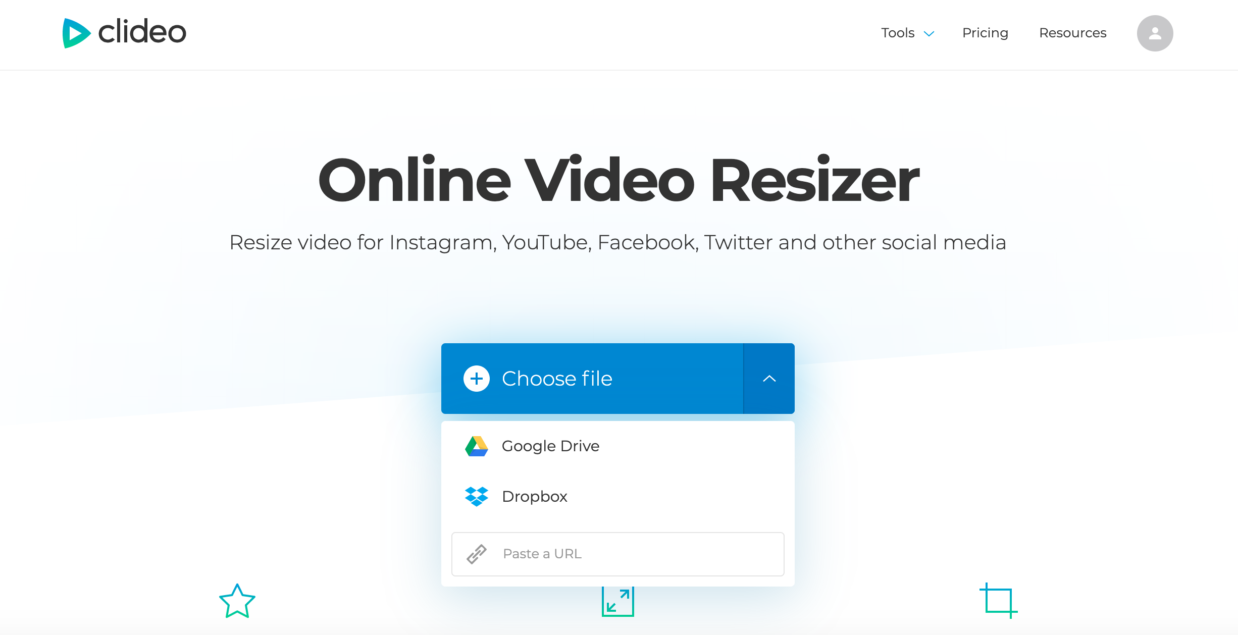 Upload a video you want to resize