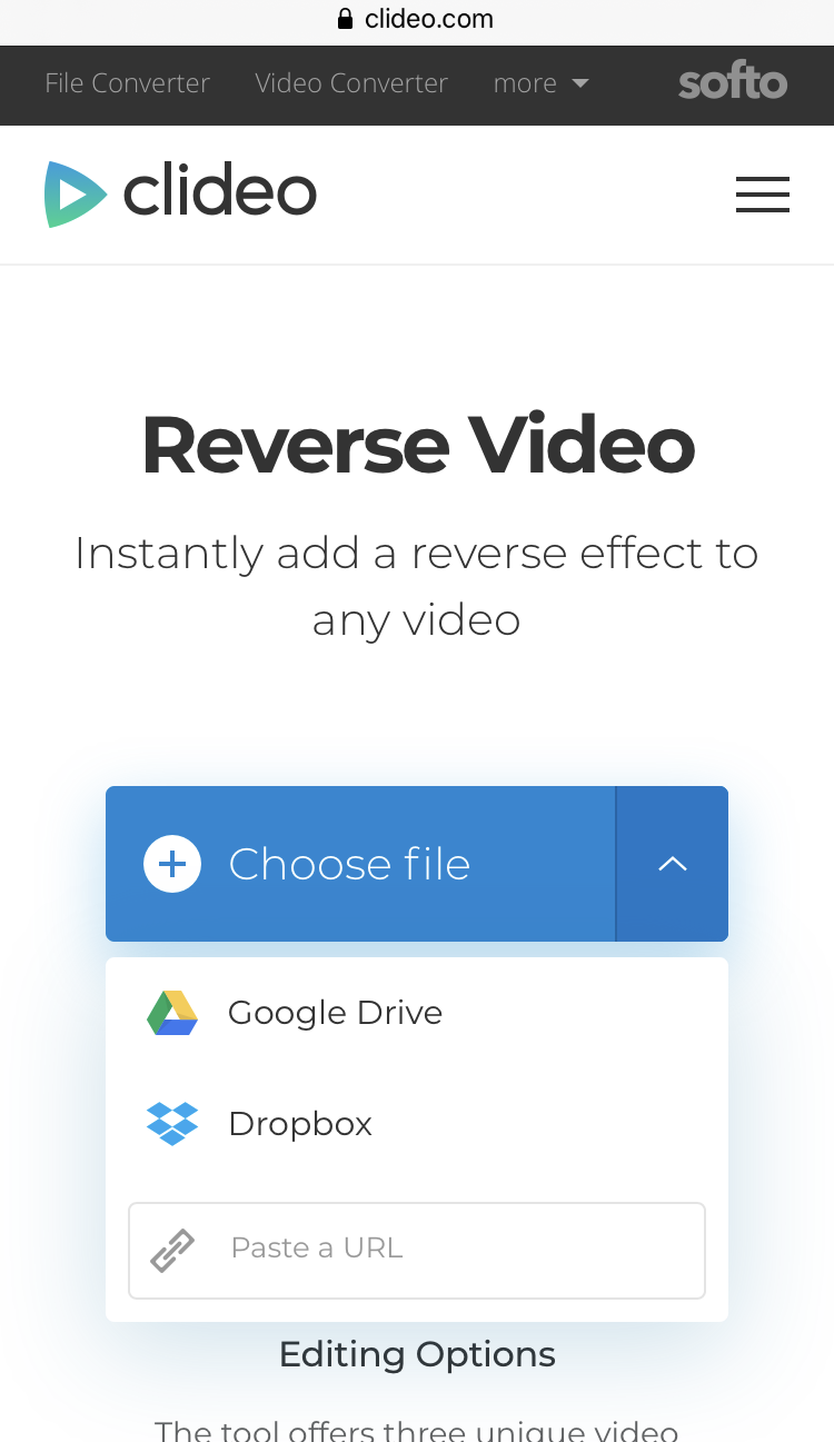 Upload a video to reverse on iPhone
