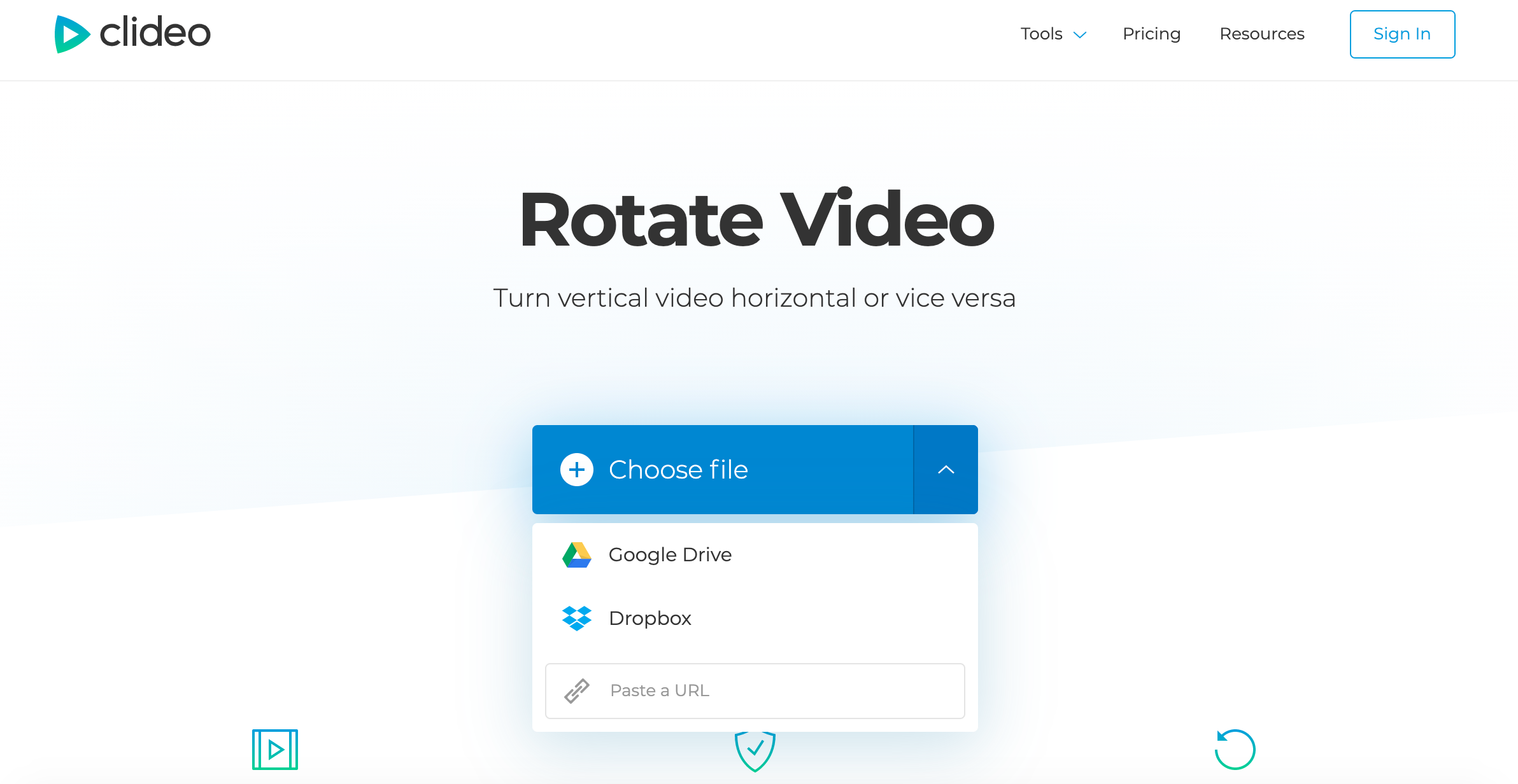 Upload a video to rotate with Clideo