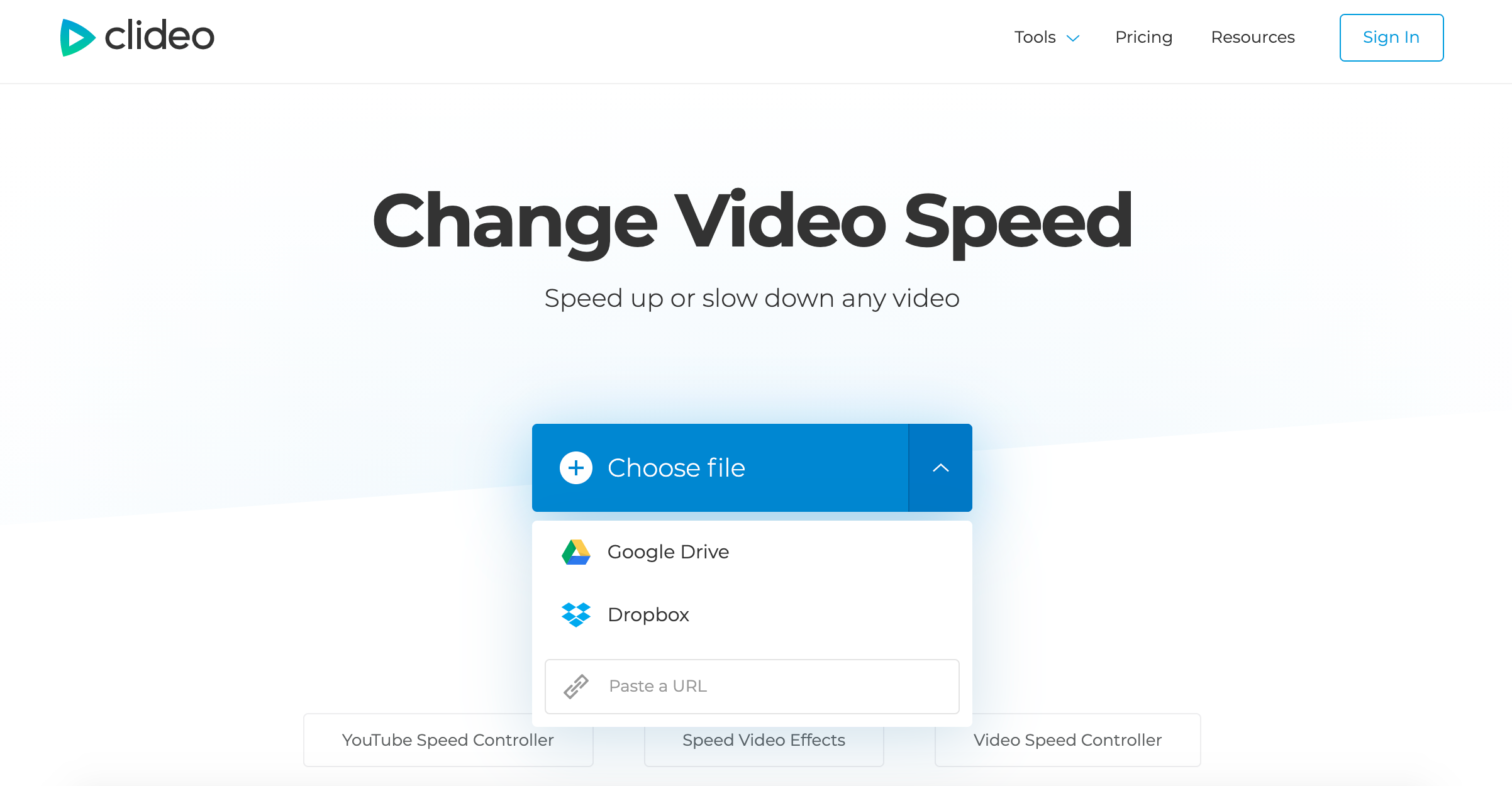 Open a video you want to speed up in the Clideo tool