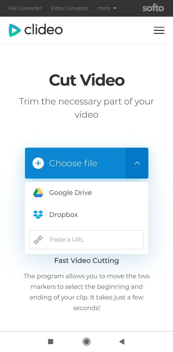 Upload a video you want to trim on Android