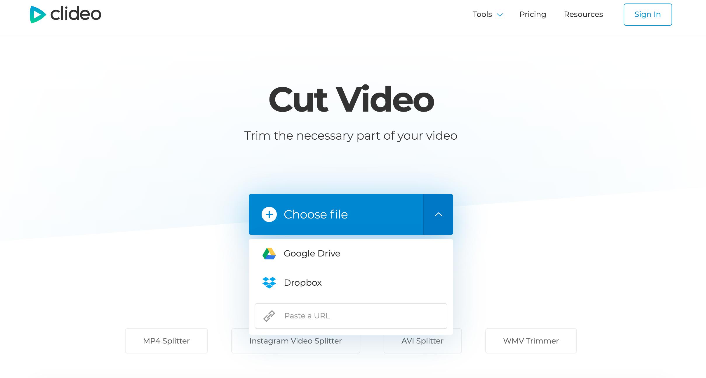 Upload video to trim on Samsung
