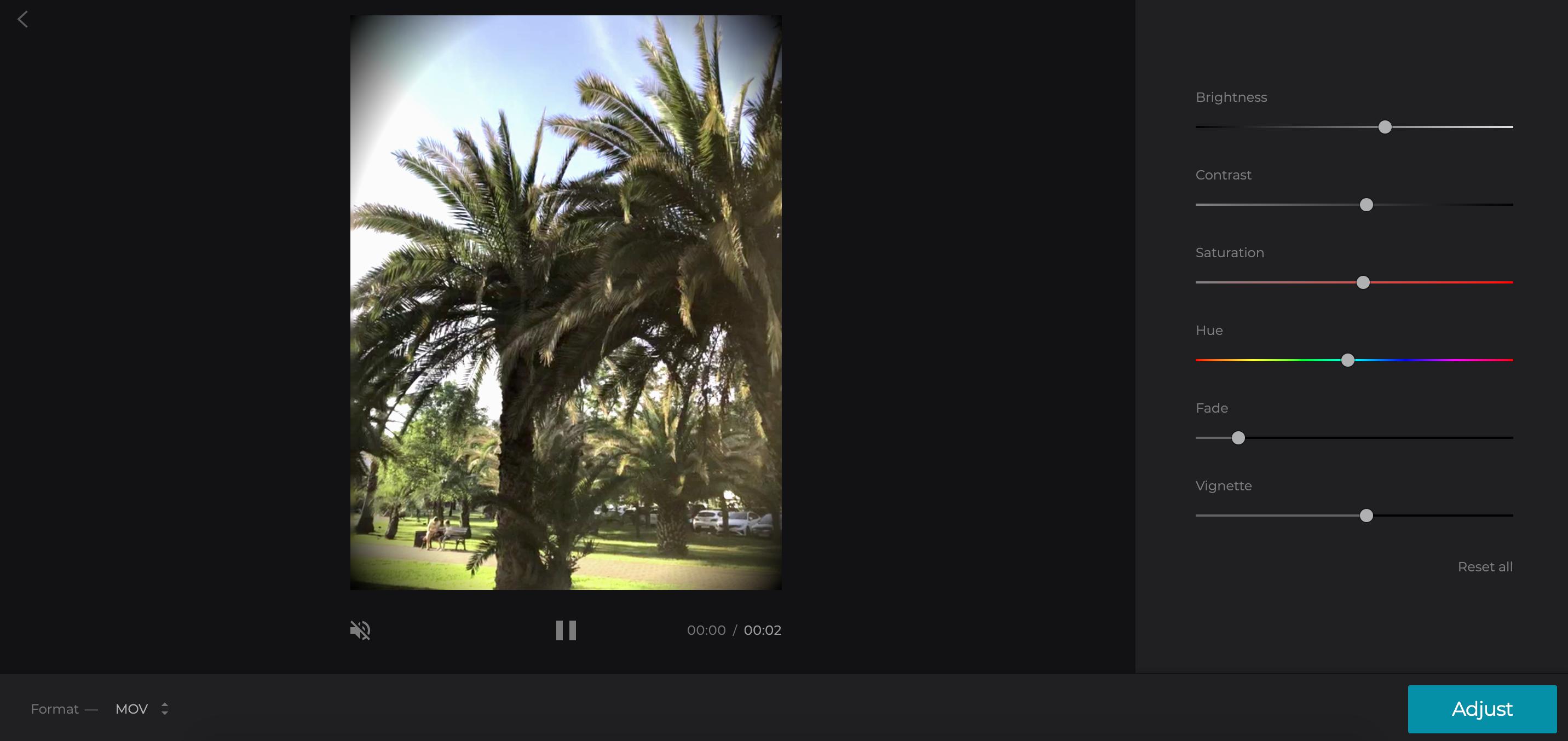 Add and adjust video vignette