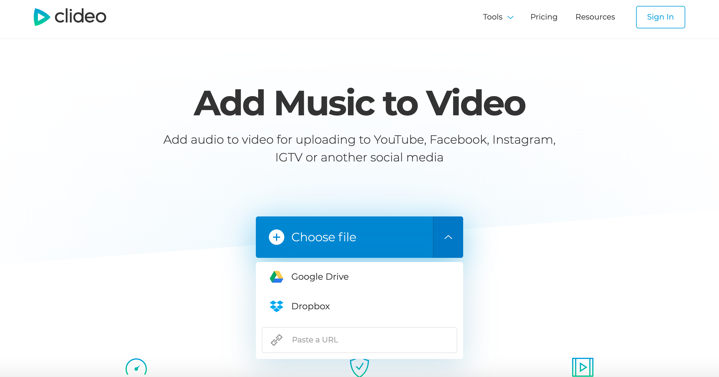 Add a YouTube video URL to then add audio