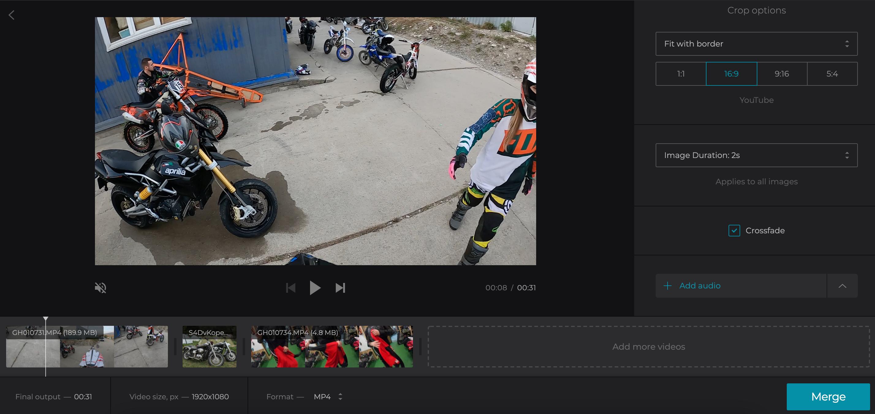 Adjust merged WebM video