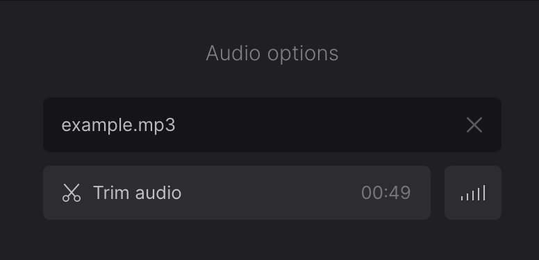 Set volume and trim music for video with pictures