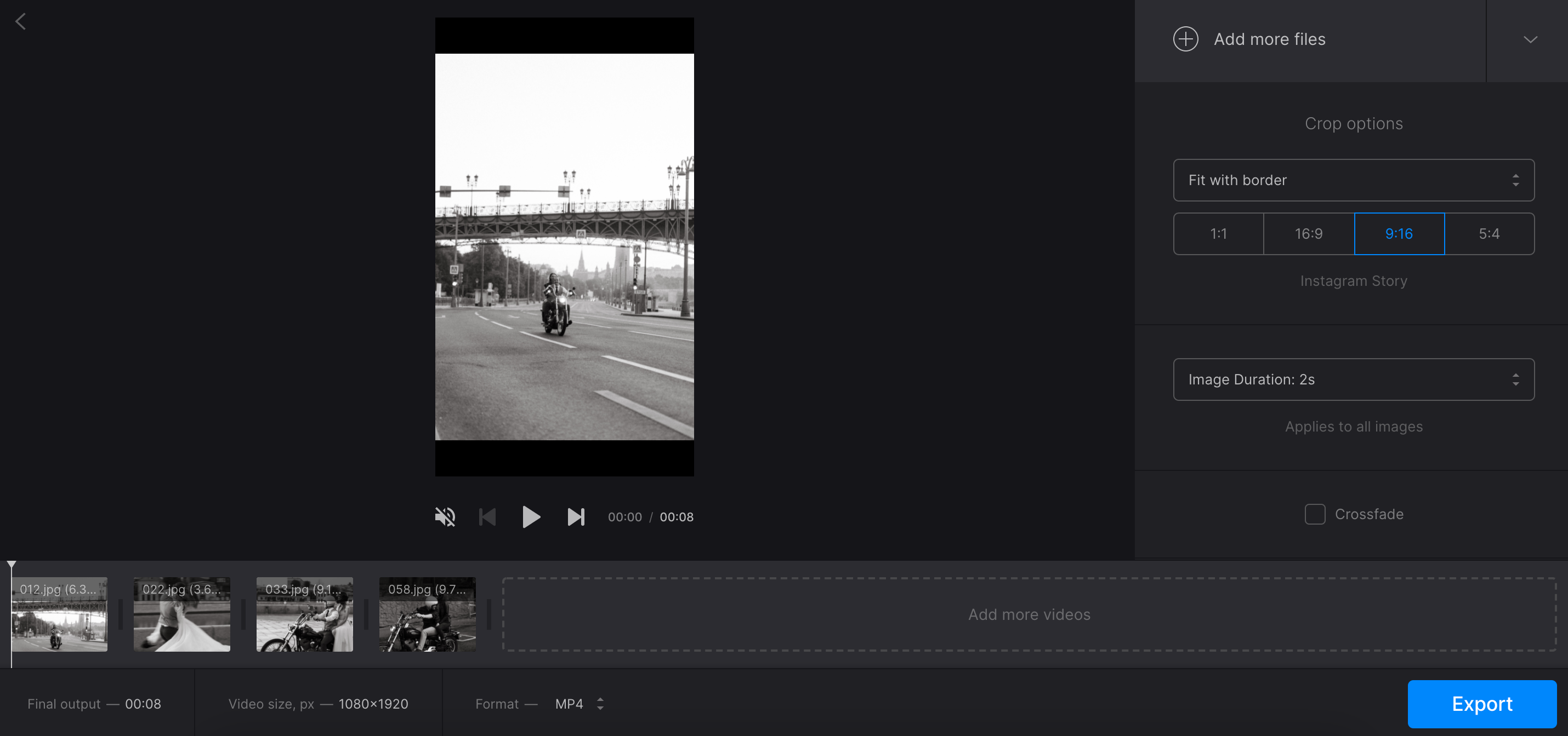 Change aspect ratio of picture slideshow on Mac