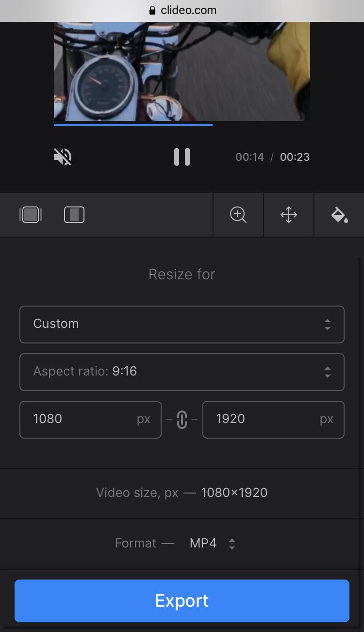 Set aspect ratio for Instagram reels