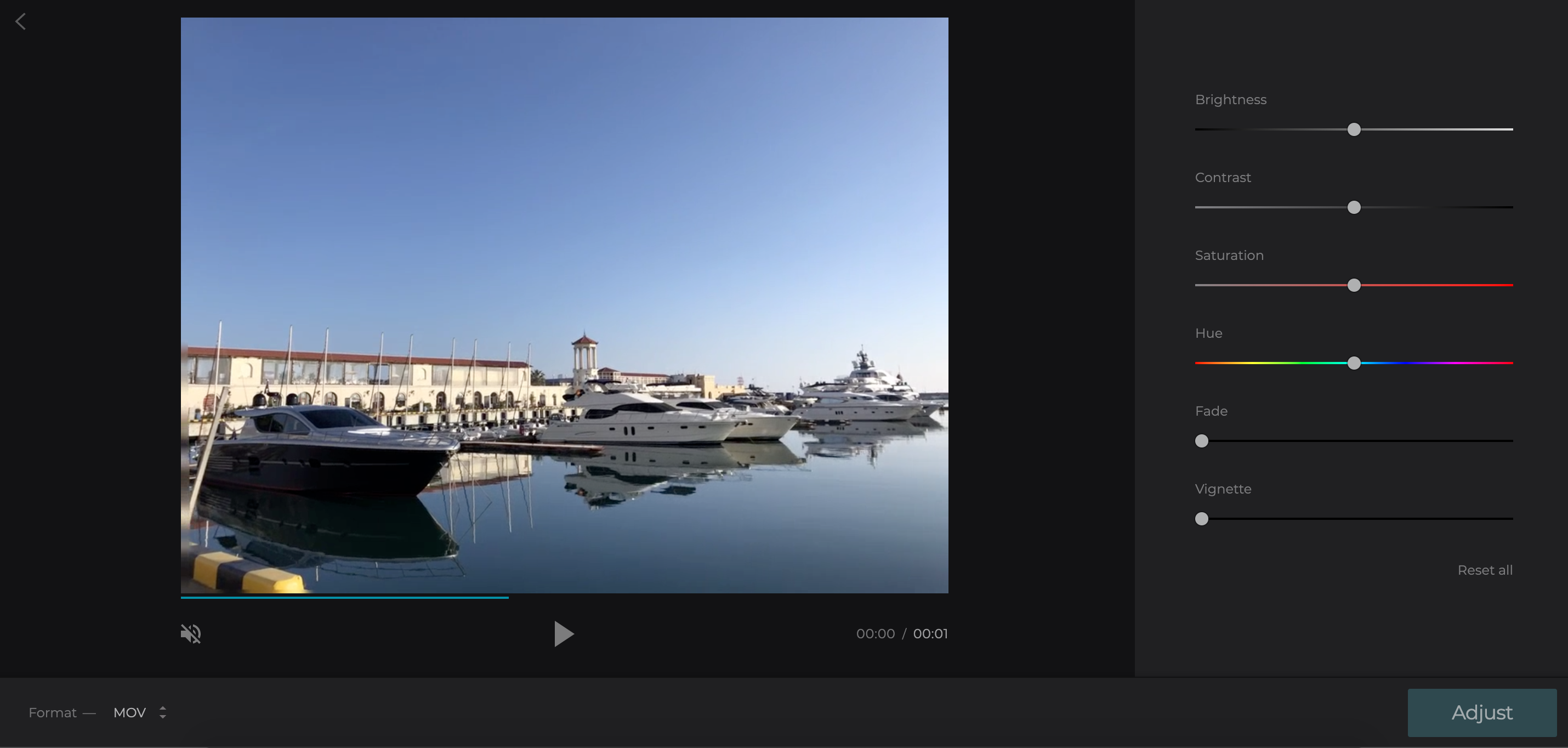 Adjust the settings of the video in the enhancer