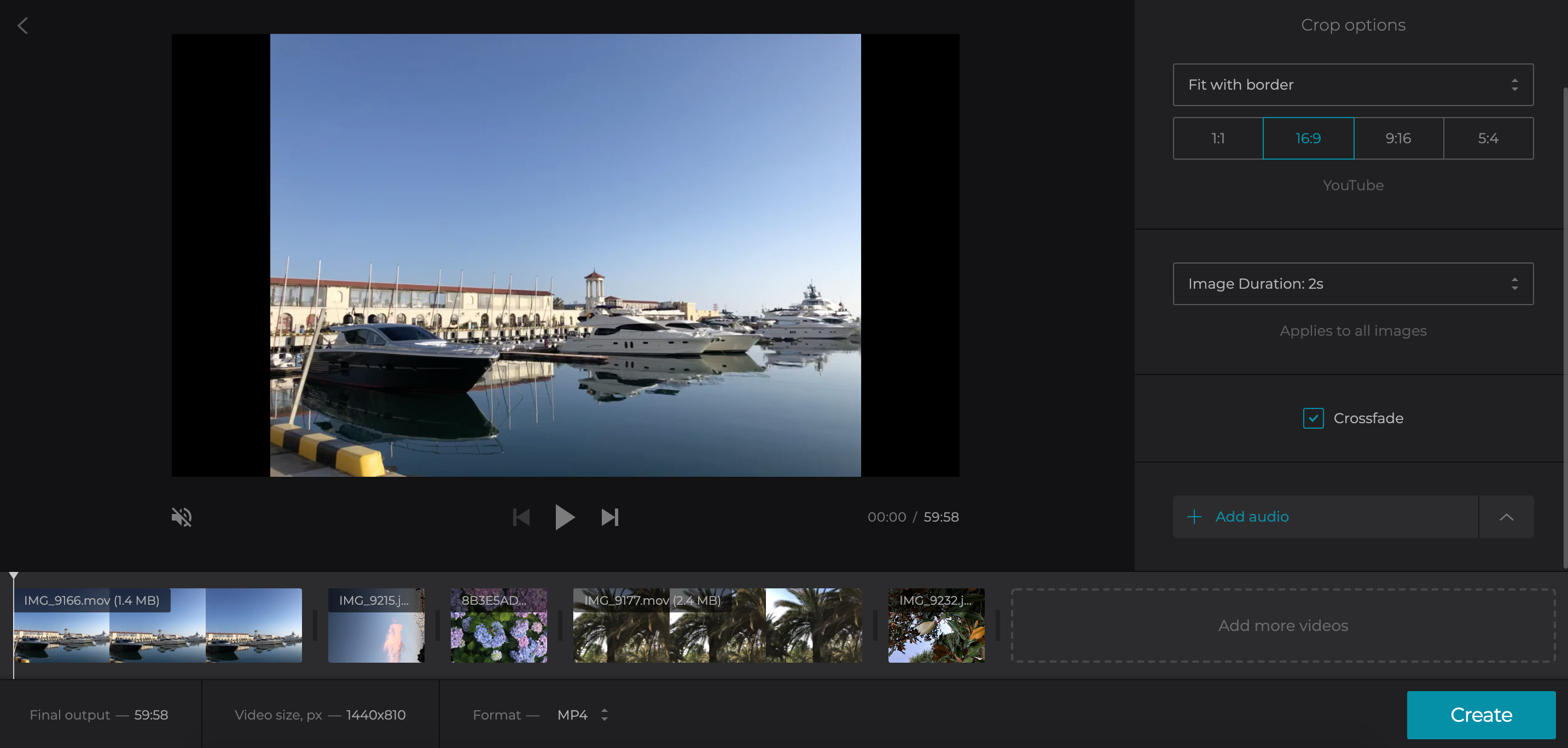 Change aspect ratio, crop and add music in YouTube Video Creator