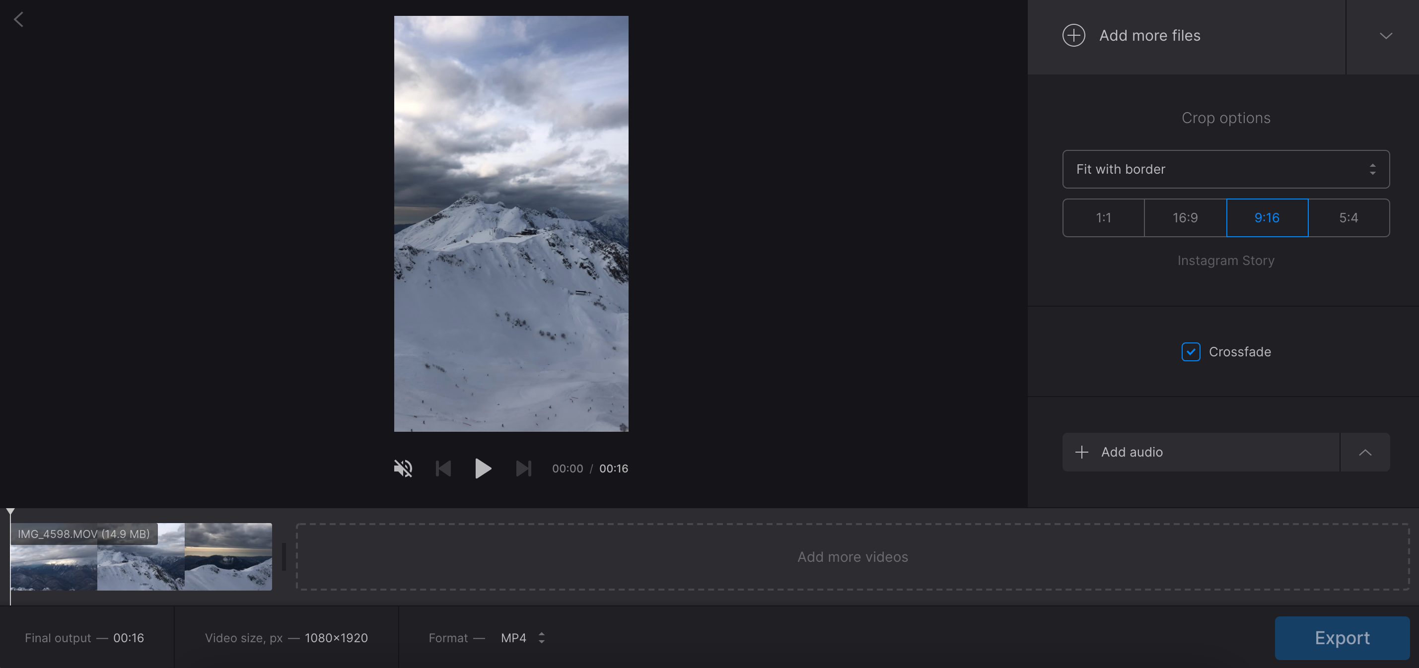 Add more videos and adjust video mashup settings