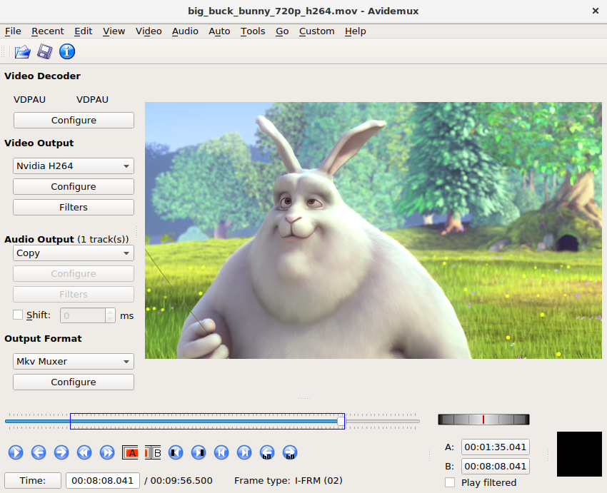 Menu of the easy and free video editing software Avidemux