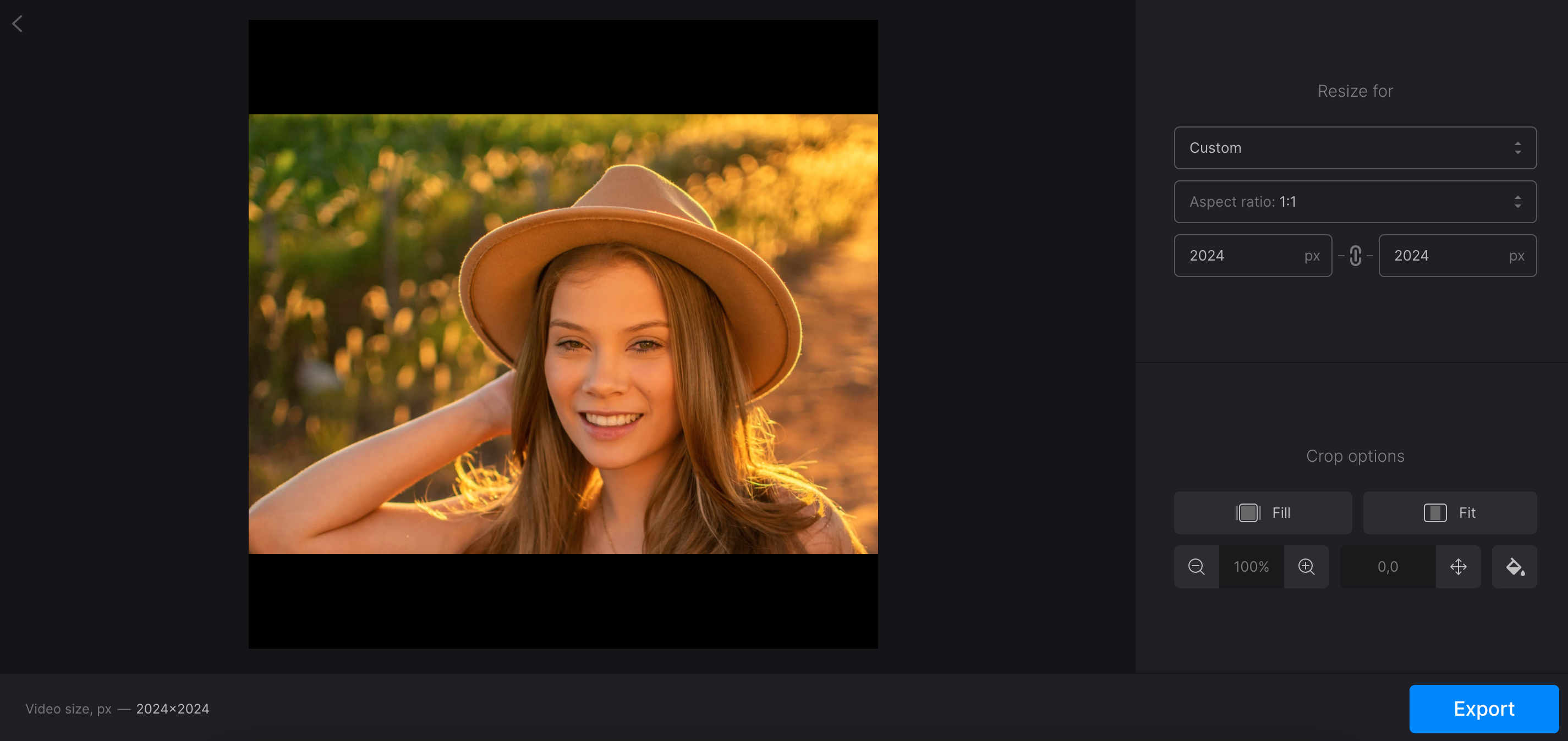 Change aspect ratio or resolution online with Clideo