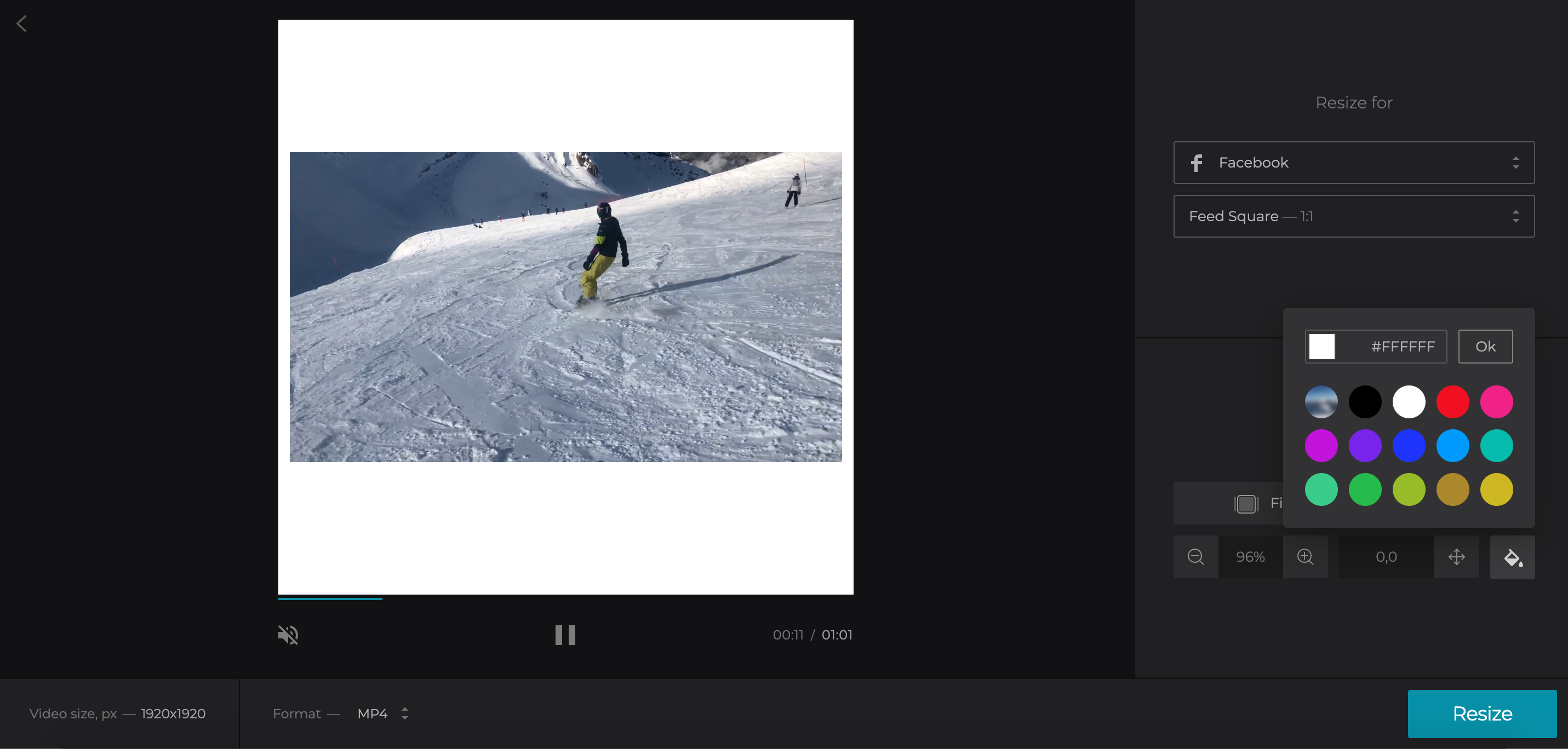 Crop your Facebook video and change background color