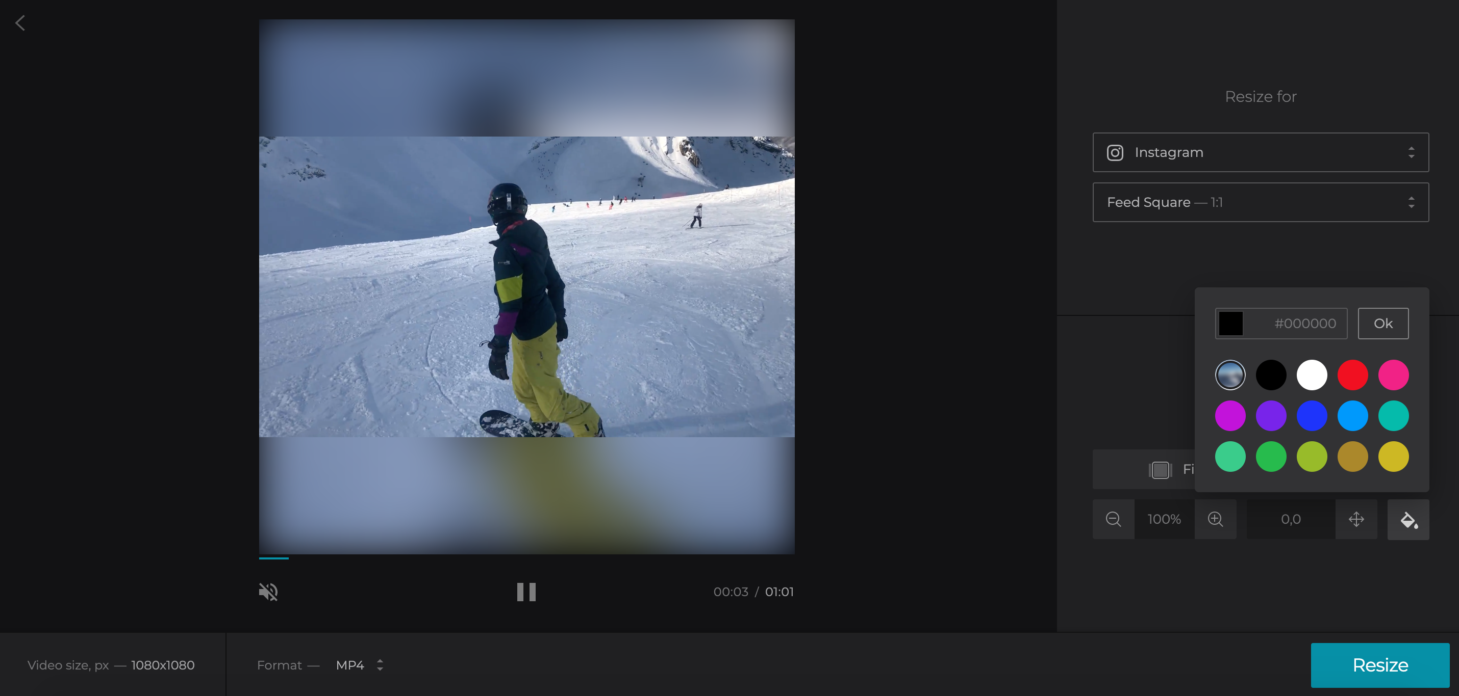 Choose background color to post YouTube on Instagram