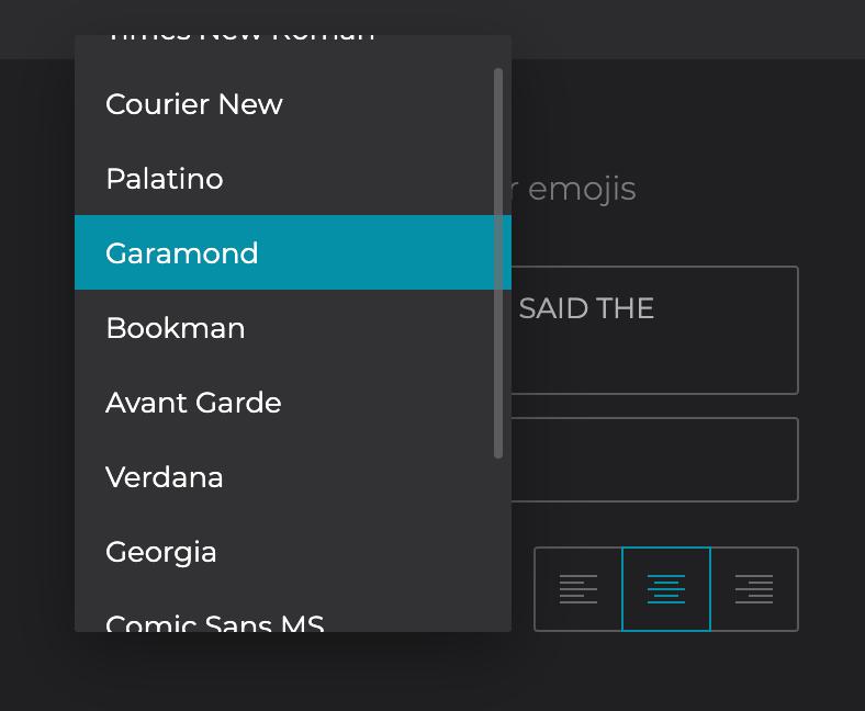 Select the desired font for your text