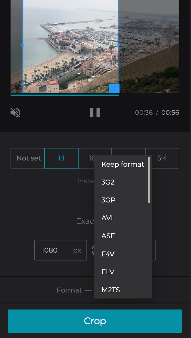 Change format of the cropped video on Android