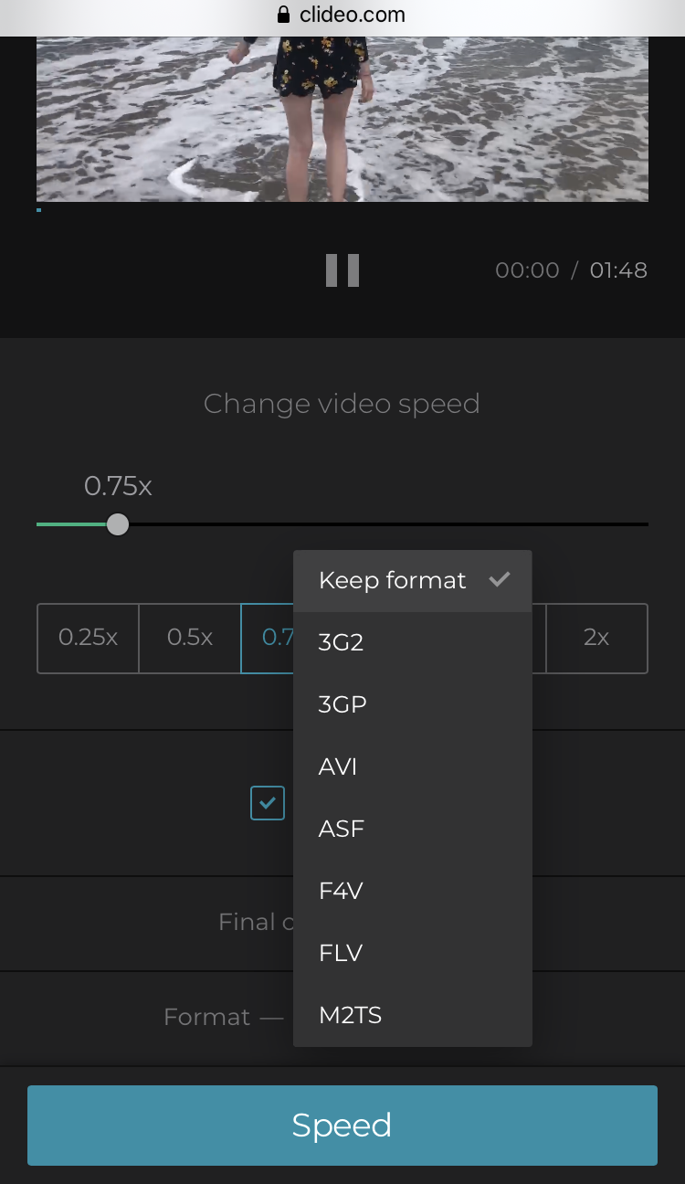 Change format of the slow motion video for Instagram