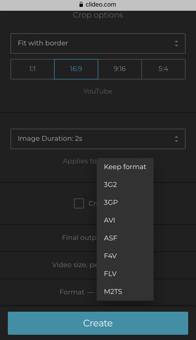 Change format of the created iPhone video or keep the initial one